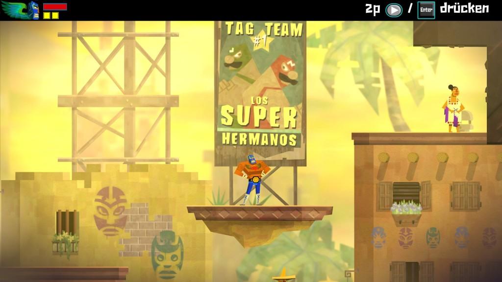 In Cuacamelee! gibt es so einige Anspielungen an die Popkultur des Gaming. Hier sehen wir z.B. zwei Luchadores die einem italienischen Brüderpaar namens Mario und Luigi sehr ähnlich sehen.