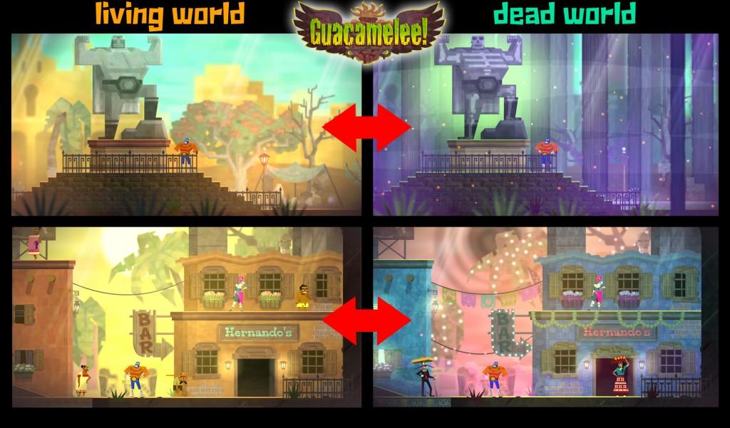 Juan wandelt zwischen der Welt der Lebenden (links) und der Welt der Toten (rechts).